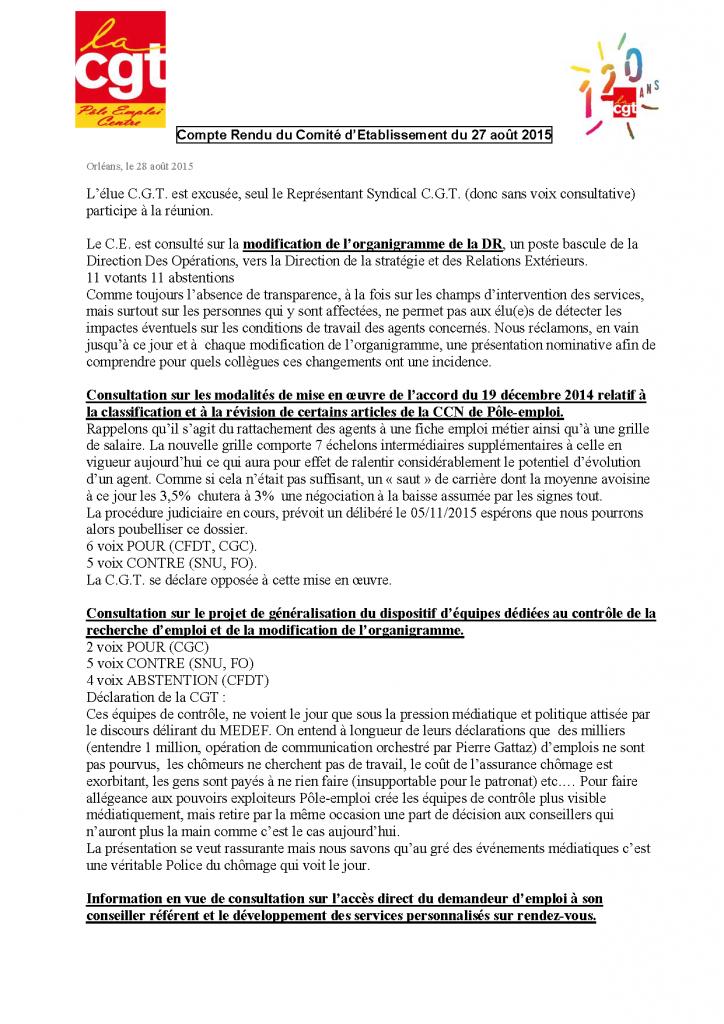 CR CE du 27 aout 2015 ,1ère page