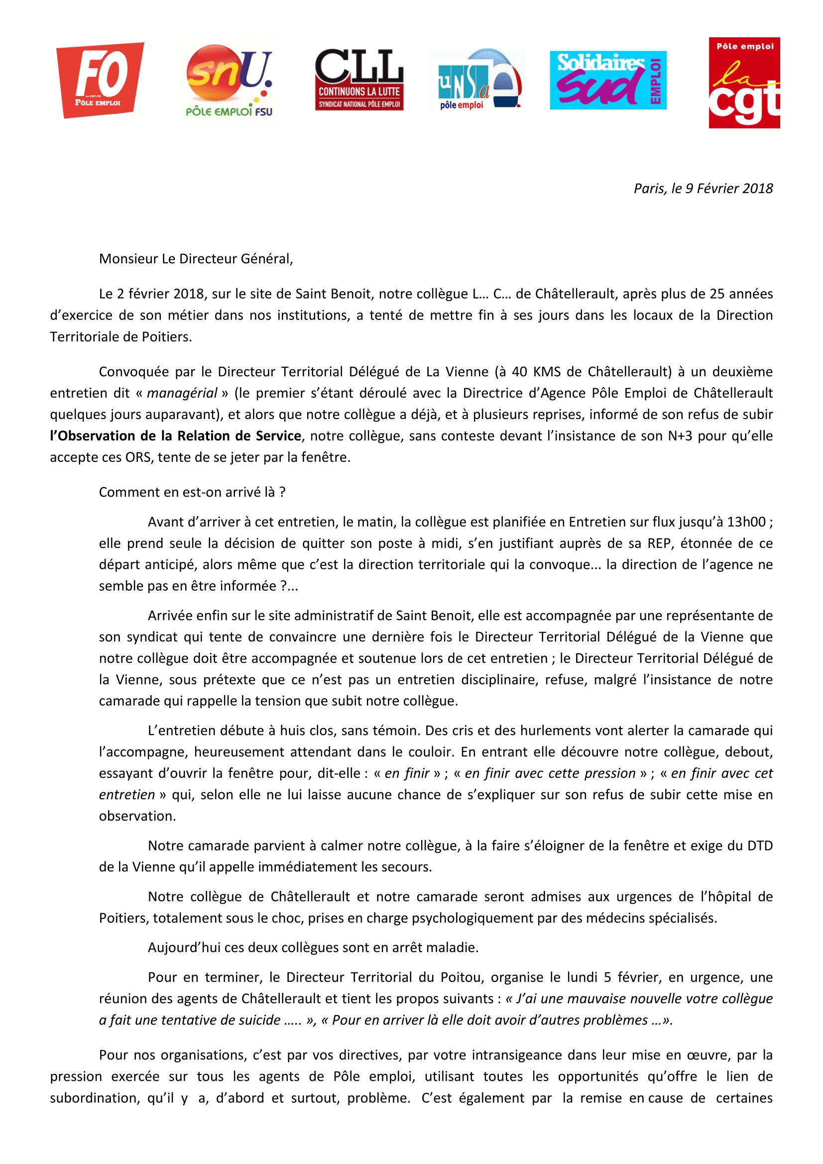 Février 2018 Lettre Ouverte Intersyndicale Au Dg Cgt