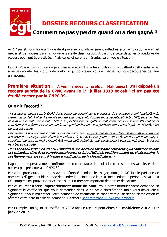 Procedure Cgt De Recours A La Classification Cgt Pole Emploi